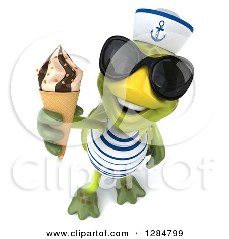 Clipart of a 3d Tortoise Sailor Wearing Sunglasses and Holding up a Waffle Ice Cream Cone - Royalty Free Illustration by Julos