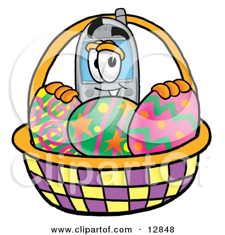 Clipart Picture of a Wireless Cellular Telephone Mascot Cartoon Character in an Easter Basket Full of Decorated Easter Eggs by Toons4Biz