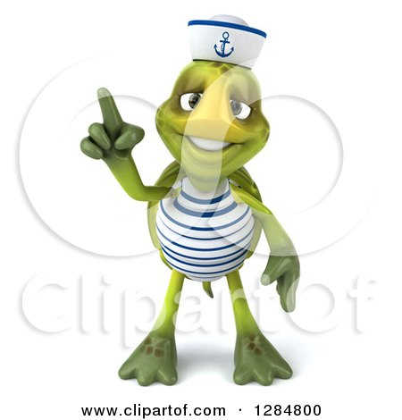 Clipart of a 3d Tortoise Sailor Holding up a Finger - Royalty Free Illustration by Julos