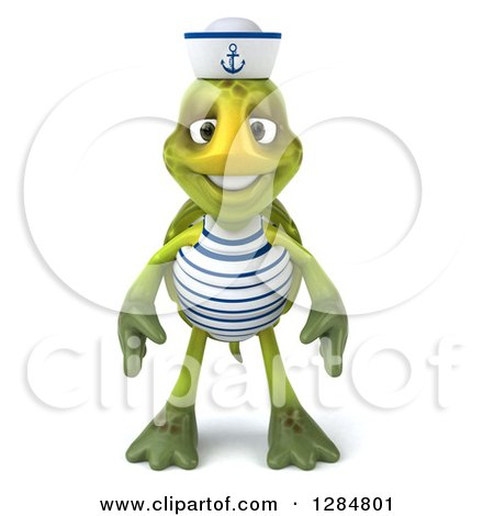 Clipart of a 3d Tortoise Sailor - Royalty Free Illustration by Julos