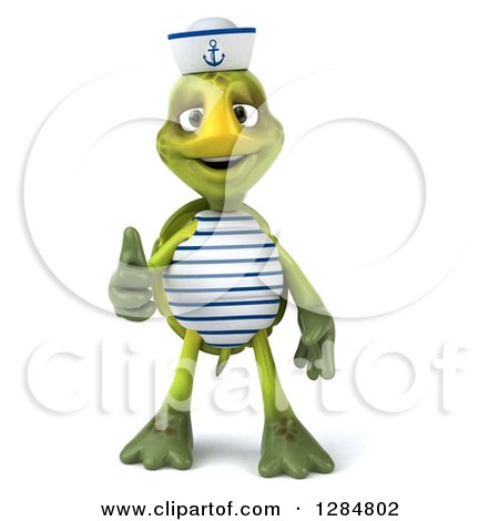 Clipart of a 3d Tortoise Sailor Giving a Thumb up - Royalty Free Illustration by Julos