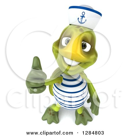 Clipart of a 3d Tortoise Sailor Holding a Thumb up - Royalty Free Illustration by Julos