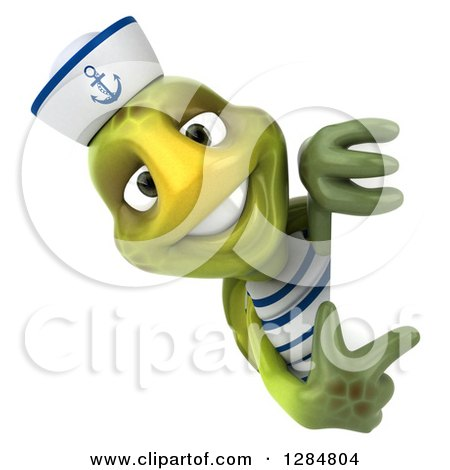Clipart of a 3d Tortoise Sailor Pointing Around a Sign - Royalty Free Illustration by Julos
