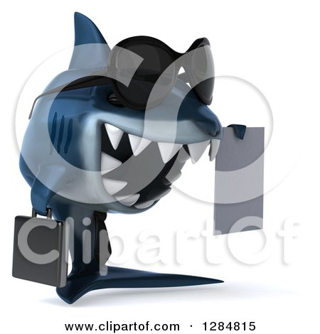 Clipart of a 3d Blue Shark Business Man Holding a Contract 3 - Royalty Free Illustration by Julos