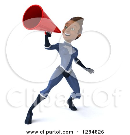 Clipart of a 3d Young Black Female Super Hero in a Blue Suit Announcing with a Megaphone - Royalty Free Illustration by Julos