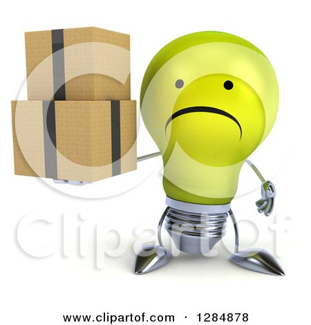 Clipart of a 3d Unhappy Yellow Light Bulb Character Holding Boxes - Royalty Free Illustration by Julos