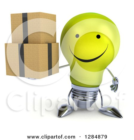 Clipart of a 3d Happy Yellow Light Bulb Character Holding Boxes - Royalty Free Illustration by Julos