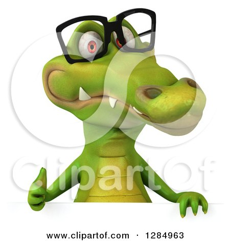 Clipart of a 3d Crocodile Wearing Glasses and Holding a Thumb up over a Sign - Royalty Free Illustration by Julos