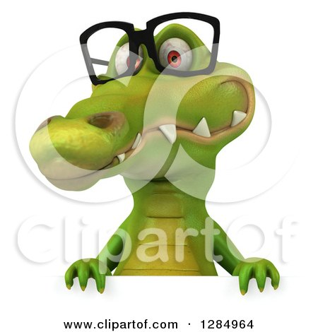 Clipart of a 3d Crocodile Wearing Glasses over a Sign - Royalty Free Illustration by Julos