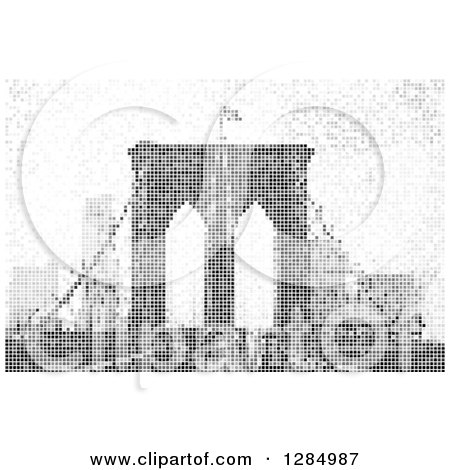 Clipart of a Grayscale Pixel Background of the Brooklyn Bridge in NYC - Royalty Free Vector Illustration by Arena Creative