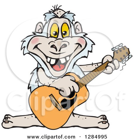 Cartoon Happy Yeti Playing an Acoustic Guitar Posters, Art Prints