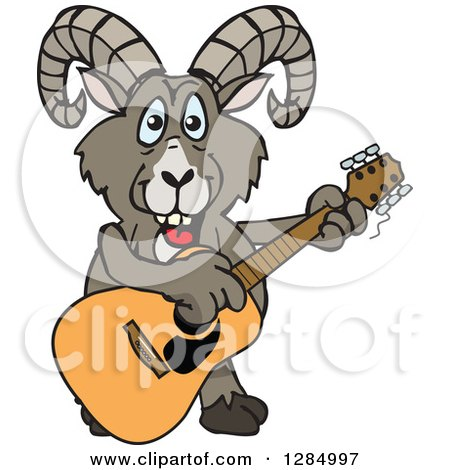 Clipart of a Cartoon Happy Bighorn Sheep Playing an Acoustic Guitar - Royalty Free Vector Illustration by Dennis Holmes Designs