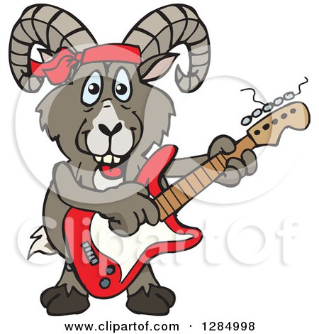 Clipart of a Cartoon Happy Bighorn Sheep Playing an Electric Guitar - Royalty Free Vector Illustration by Dennis Holmes Designs