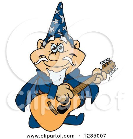 Clipart of a Cartoon Happy Wizard Playing an Acoustic Guitar - Royalty Free Vector Illustration by Dennis Holmes Designs