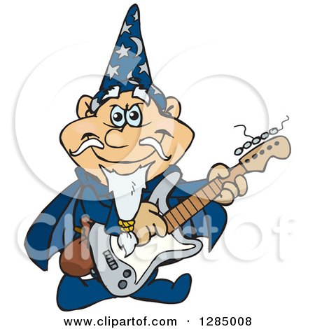 Clipart of a Cartoon Happy Wizard Playing an Electric Guitar - Royalty Free Vector Illustration by Dennis Holmes Designs