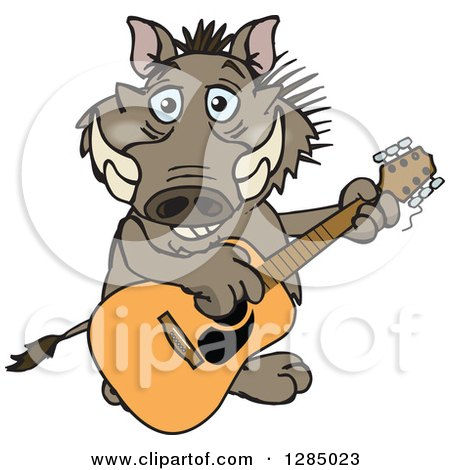 Clipart of a Cartoon Happy Warthog Playing an Acoustic Guitar - Royalty Free Vector Illustration by Dennis Holmes Designs
