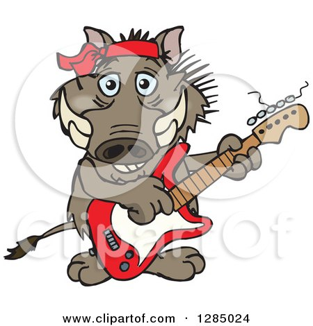 Clipart of a Cartoon Happy Warthog Playing an Electric Guitar - Royalty Free Vector Illustration by Dennis Holmes Designs
