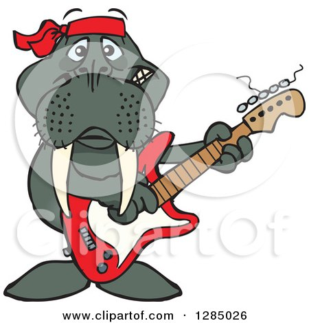 Clipart of a Cartoon Happy Walrus Playing an Electric Guitar - Royalty Free Vector Illustration by Dennis Holmes Designs