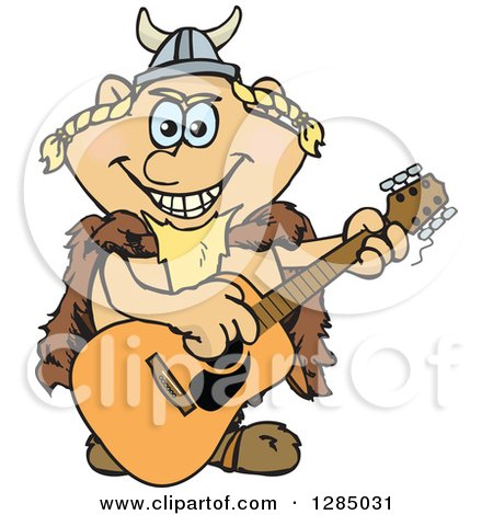Clipart of a Cartoon Happy Viking Playing an Acoustic Guitar - Royalty Free Vector Illustration by Dennis Holmes Designs