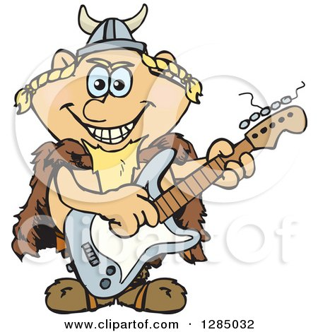 Clipart of a Cartoon Happy Viking Playing an Electric Guitar - Royalty Free Vector Illustration by Dennis Holmes Designs