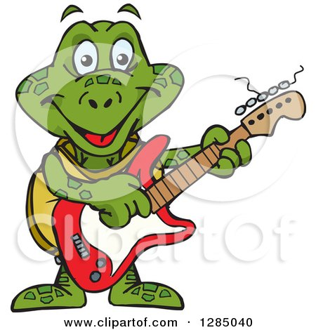 Clipart of a Cartoon Happy Sea Turtle Playing an Electric Guitar - Royalty Free Vector Illustration by Dennis Holmes Designs