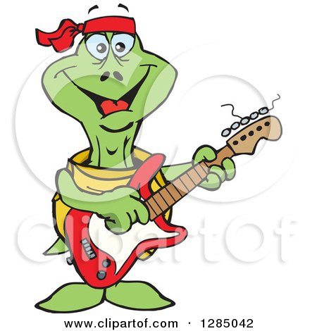 Clipart of a Cartoon Happy Turtle Playing an Electric Guitar - Royalty Free Vector Illustration by Dennis Holmes Designs