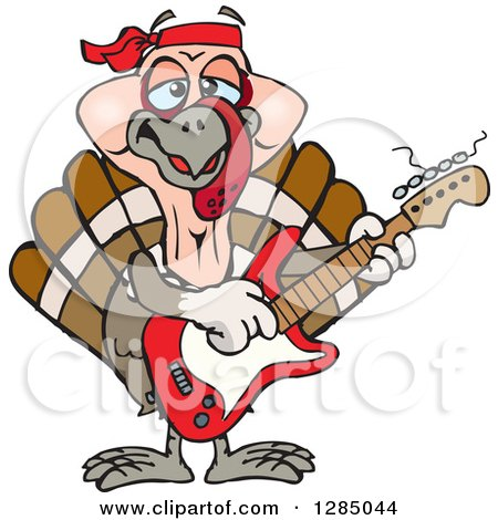 Clipart of a Cartoon Happy Turkey Bird Playing an Electric Guitar - Royalty Free Vector Illustration by Dennis Holmes Designs