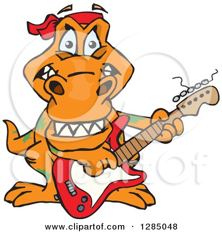 Clipart of a Cartoon Happy T Rex Dinosaur Playing an Electric Guitar - Royalty Free Vector Illustration by Dennis Holmes Designs