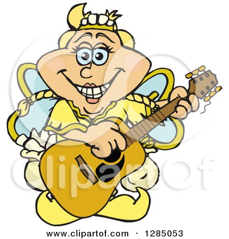 Cartoon Happy Tooth Fairy Playing an Acoustic Guitar Posters, Art Prints