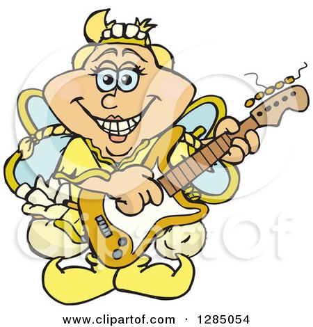 Cartoon Happy Tooth Fairy Playing an Electric Guitar Posters, Art Prints