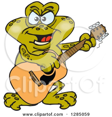 Clipart of a Cartoon Happy Toad Playing an Acoustic Guitar - Royalty Free Vector Illustration by Dennis Holmes Designs