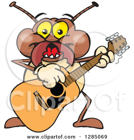 Clipart of a Cartoon Happy Termite Playing an Acoustic Guitar - Royalty Free Vector Illustration by Dennis Holmes Designs