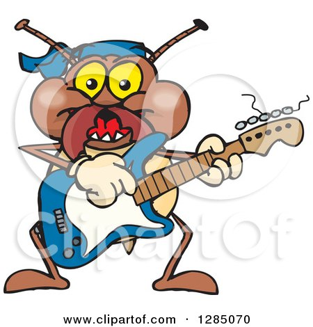 Clipart of a Cartoon Happy Termite Playing an Electric Guitar - Royalty Free Vector Illustration by Dennis Holmes Designs