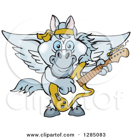 Clipart of a Cartoon Happy Pegasus Horse Playing an Electric Guitar - Royalty Free Vector Illustration by Dennis Holmes Designs