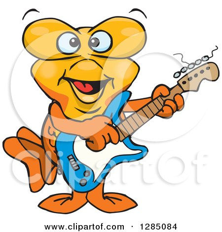 Clipart of a Cartoon Happy Goldfish Playing an Electric Guitar - Royalty Free Vector Illustration by Dennis Holmes Designs