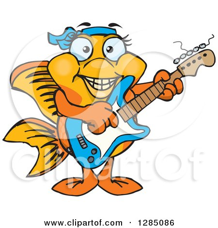 Clipart of a Cartoon Happy Fancy Goldfish Playing an Electric Guitar - Royalty Free Vector Illustration by Dennis Holmes Designs