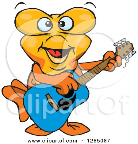 Clipart of a Cartoon Happy Goldfish Playing an Acoustic Guitar - Royalty Free Vector Illustration by Dennis Holmes Designs