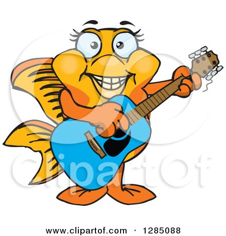 Clipart of a Cartoon Happy Fancy Goldfish Playing an Acoustic Guitar - Royalty Free Vector Illustration by Dennis Holmes Designs