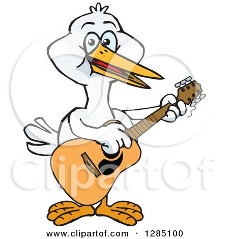 Clipart of a Cartoon Happy Stork Playing an Acoustic Guitar - Royalty Free Vector Illustration by Dennis Holmes Designs