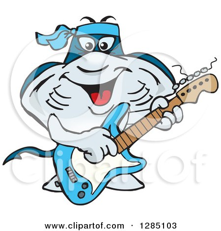 Clipart of a Cartoon Happy Sting Ray Playing an Electric Guitar - Royalty Free Vector Illustration by Dennis Holmes Designs