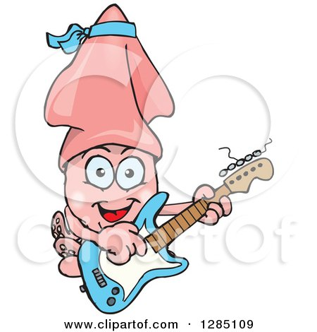 Cartoon Happy Squid Playing An Electric Guitar Clipart Of A Pink