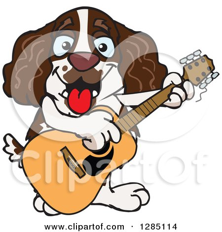 Clipart of a Cartoon Happy English Springer Spaniel Dog Playing an Acoustic Guitar - Royalty Free Vector Illustration by Dennis Holmes Designs