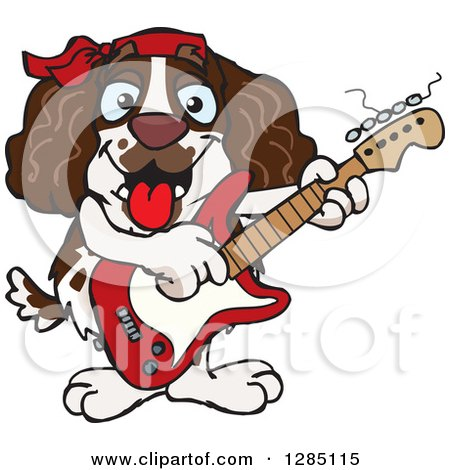 Clipart of a Cartoon Happy English Springer Spaniel Dog Playing an Electric Guitar - Royalty Free Vector Illustration by Dennis Holmes Designs
