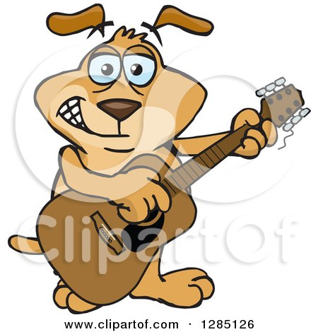 Clipart of a Cartoon Happy Sparkey Dog Playing an Acoustic Guitar - Royalty Free Vector Illustration by Dennis Holmes Designs