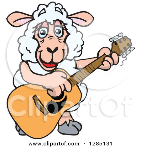 Clipart of a Cartoon Happy Sheep Playing an Acoustic Guitar - Royalty Free Vector Illustration by Dennis Holmes Designs