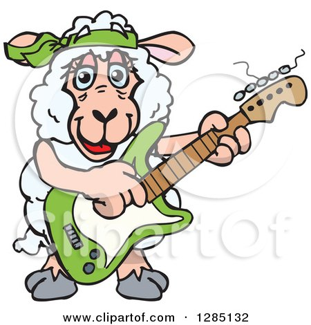 Clipart of a Cartoon Happy Sheep Playing an Electric Guitar - Royalty Free Vector Illustration by Dennis Holmes Designs