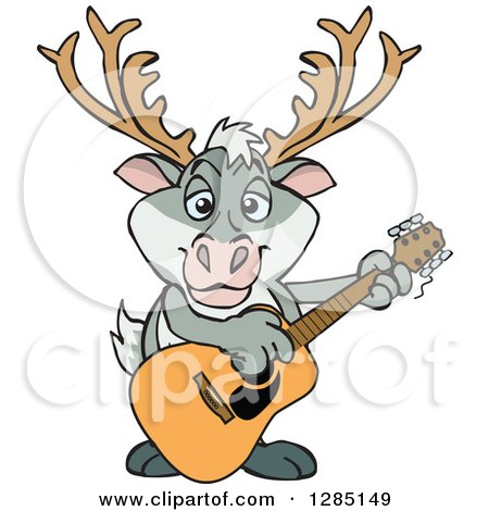 Clipart of a Cartoon Happy Reindeer Playing an Acoustic Guitar - Royalty Free Vector Illustration by Dennis Holmes Designs