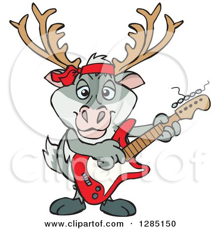 Clipart of a Cartoon Happy Reindeer Playing an Electric Guitar - Royalty Free Vector Illustration by Dennis Holmes Designs