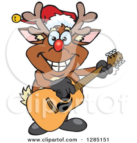 Clipart of a Cartoon Happy Red Nosed Rudolph Christmas Reindeer Playing an Acoustic Guitar - Royalty Free Vector Illustration by Dennis Holmes Designs