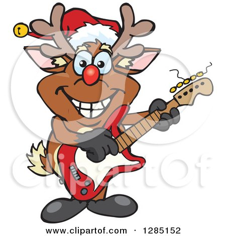 Clipart of a Cartoon Happy Red Nosed Rudolph Christmas Reindeer Playing an Electric Guitar - Royalty Free Vector Illustration by Dennis Holmes Designs